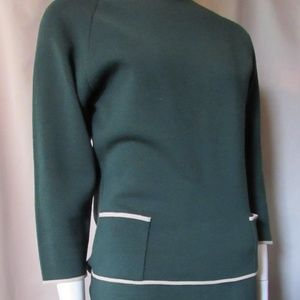 Vintage Sweater Skirt Set Forest Green Knit Italy